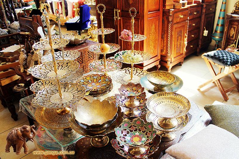 Купить посуду из Индии в Киеве, Украине - Медная, металлическая посуда из Индии в магазинах Ганга
